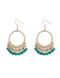 Sweet Green Tassel Decorated Simple Design  Alloy Korean Earrings