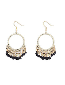 Sweet Black Tassel Decorated Simple Design  Alloy Korean Earrings