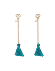 Bohemia Green Diamond Decorated Tassel Design  Alloy Stud Earrings