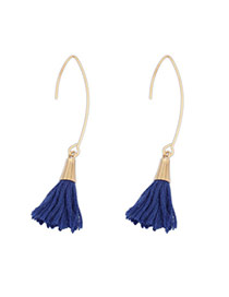 Bohemia Dark Blue Tassel Decorated Simple Design  Alloy Korean Earrings
