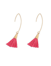Bohemia Padparadscha Tassel Decorated Simple Design  Alloy Korean Earrings