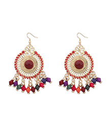 Bohemia Multicolor Round Shape Decorated Tassel Design  Alloy Korean Earrings