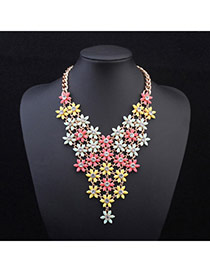 Exquisite Beige+white Flowers Decorated V Shape Design Alloy Bib Necklaces