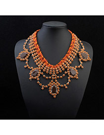 Trendy Orange Water Drop Shape Decorated Weave Design Alloy Bib Necklaces
