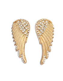 Personalized Gold Color Diamond Decorated Wings Shape Design Alloy Stud Earrings