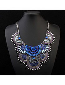 Temperamental Blue Gemstone Decorated Fan Shape Design Alloy Bib Necklaces