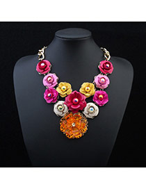 Elegant Orange Crystal Flower Pendant Decorated Simple Design Alloy Bib Necklaces