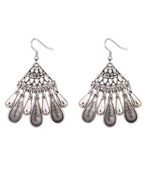 Retro Silver Color Beads Decorated Fan Shape Design  Alloy Korean Earrings