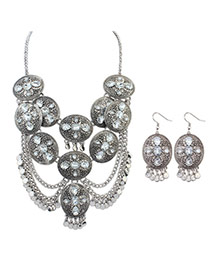 Retro Ancient Silver Gemstone Decorated Oval Shape Design  Alloy Jewelry Sets