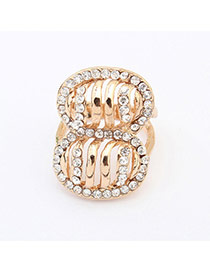 Exaggerate Gold Color Diamond Decorated Hollow Out 8 Shape Design  Alloy Korean Rings