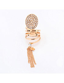 Fashion Gold Color Tassel Decorated Compass Shape Design  Alloy Korean Rings