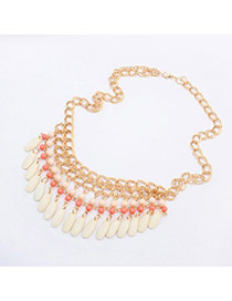 Exaggerate White Beads & Tassel Pendant Decorated Collar Design