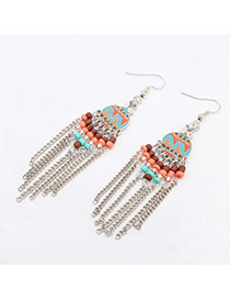 Fashion Silver Color Round Shape Decorated Tassel Design  Alloy Korean Earrings