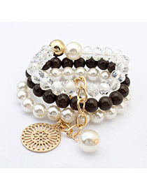 Fashion Dark Gray Round Pendant Decorated Multilayer Design  Resin Korean Fashion Bracelet