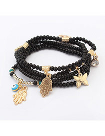 Fashion Black Multi-element Decorated Multilayer Design  Alloy Korean Fashion Bracelet