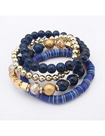 Fashion Blue Beads Decorated Multilayer Design  Plastic Korean Fashion Bracelet