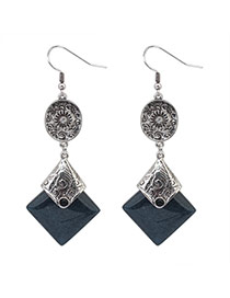 Fashion Dark Gray+anti-silver Square Gemstone Pendant Decorated Simple Design Alloy Korean Earrings