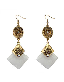 Fashion White+antique Gold Square Gemstone Pendant Decorated Simple Design Alloy Korean Earrings