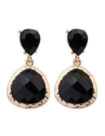 Sweet Black Waterdrop Shape Pendant Decorated Simple Design  Alloy Stud Earrings