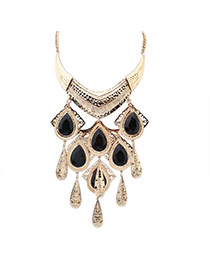 Fashion Black Water Drop Pendant Decorated Simple Design Alloy Bib Necklaces