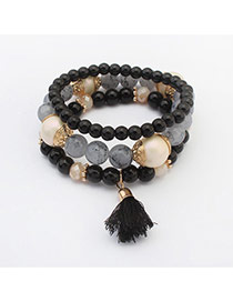 Fashion Black Tassel Decorated Multilayer Design