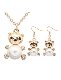 Sweet White Pearl Decorated Bear Shape Pendant Design  Alloy Jewelry Sets