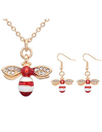 Sweet Red Diamond Decorated Bee Shape Pendant Design  Alloy Jewelry Sets