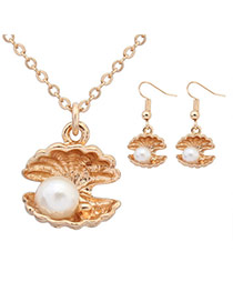 Sweet White Pearl Decorated Shell Shape Pendant Design  Alloy Jewelry Sets