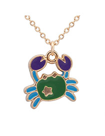 Sweet Green+blue+purple Cancer Pendant Decorated Simple Design Alloy Chains