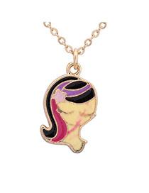 Sweet Beige+plum Red+purple Virgo Pendant Decorated Simple Design Alloy Chains