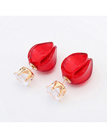 Sweet Red Diamond & Candy Color Decorated Flower Shape Design Acrylic Stud Earrings