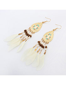 Vintage White Beads & Feather Decorated Water Drop Shape Tassel Design Alloy Korean Earrings