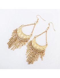 Fashion Bronze Crescent Shape Decorated Tassels Design Acrylic Korean Earrings