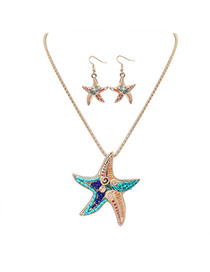 Cute Gold Color Starfish Shape Pendant Decorated Simple Design Alloy Jewelry Sets