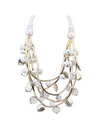 Elegant White Multilayer Beads Weave Pendant Decorated Collar Design Alloy Bib Necklaces