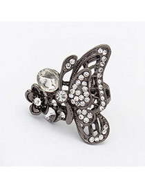 Cute Black Diamond Decorated Butterfly Shape Design Alloy Korean Rings