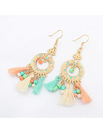 Trendy Multi-color Tassel Pendant Decorated Simple Design Alloy Korean Earrings