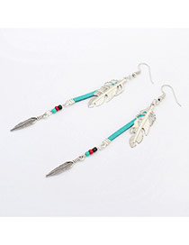 Fashion Green Leaf Shape Decorated Simple Design Alloy Korean Earrings