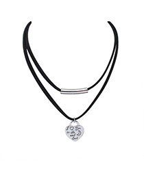 Fashion Silver Color Heart Shape Pendant Decorated Double Layer Design Alloy Bib Necklaces