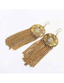 Vintage Gold Color Tassel Decorated Round Shape Design Alloy Korean Earrings