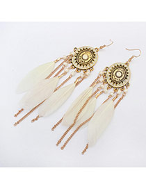 Fashion White Tassel Pendant Decorated Round Shape Design Feather Korean Earrings