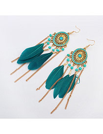 Fashion Green Tassel Pendant Decorated Round Shape Design Feather Korean Earrings