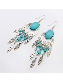 Fashion Blue Beads Decorated Oval Shape Design Resin Korean Earrings