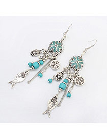 Fashion Blue Flower&fish Decorated Simple Design Acrylic Korean Earrings