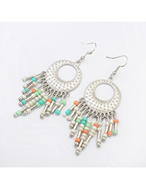 Vintage Multi-color Tassel Pendant Decorated Round Shape Design Alloy Korean Earrings