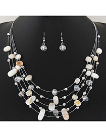 Bohemia White Sell& Diamond Decorated Simple Necklace Set