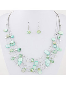 Bohemia Light Green Sell& Diamond Decorated Simple Necklace Set