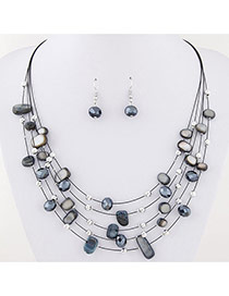 Bohemia Black Sell& Diamond Decorated Simple Necklace Set
