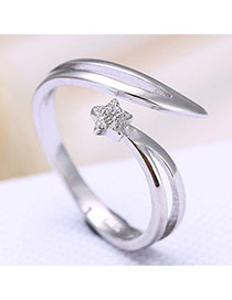 Vintage Silver Color Metal Shooting Star Shape Decorated Opening Ring