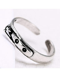 Retro Silver Color Metal Buckle Decorated Opening Ring